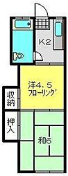 神奈川県横浜市南区三春台の賃貸アパートの間取り
