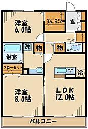 JR南武線 西府駅 徒歩20分の賃貸アパート 2階2LDKの間取り
