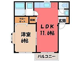 栃木県小山市粟宮1丁目の賃貸アパートの間取り