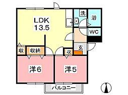 ニューエルディムイシハラ B[102号室]の間取り