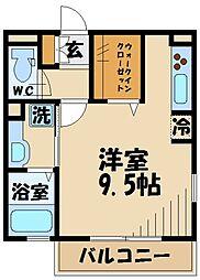 京王線 武蔵野台駅 徒歩8分の賃貸アパート 2階ワンルームの間取り