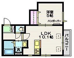 東急田園都市線 用賀駅 徒歩10分の賃貸マンション 2階1LDKの間取り