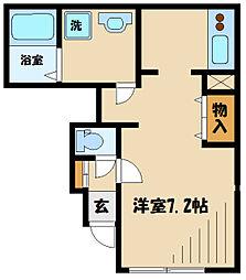 小田急小田原線 狛江駅 徒歩12分の賃貸アパート 1階1Kの間取り