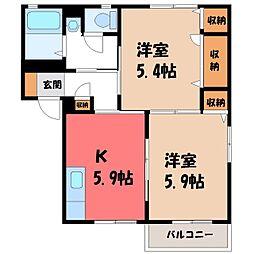 栃木県小山市城北6丁目の賃貸アパートの間取り