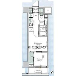One ROOF Residence Kiba WEST 2階1DKの間取り