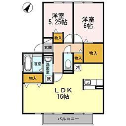愛知県岡崎市上和田町字森崎の賃貸アパートの間取り