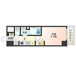阪神なんば線 九条駅 徒歩4分の賃貸マンション 15階1Kの間取り