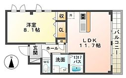 南海高野線 初芝駅 徒歩7分の賃貸アパート 2階1LDKの間取り