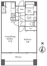 リバーシティ21イーストタワーズ2 15階1LDKの間取り