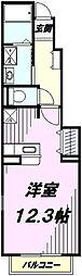 JR五日市線 武蔵引田駅 徒歩18分の賃貸アパート 1階1Kの間取り