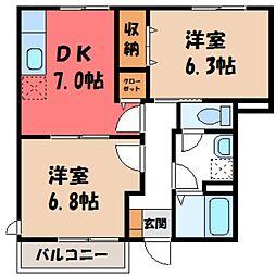 栃木県小山市大字神鳥谷の賃貸アパートの間取り