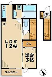 東京都多摩市馬引沢1丁目の賃貸アパートの間取り