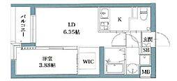 福岡市地下鉄空港線 唐人町駅 徒歩3分の賃貸マンション 9階1LDKの間取り