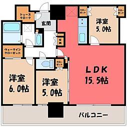 JR東北本線 宇都宮駅 徒歩11分の賃貸マンション 20階3LDKの間取り
