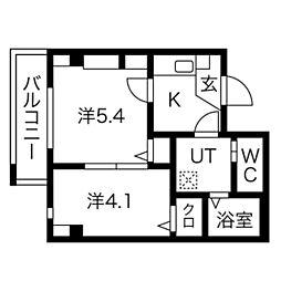 南海高野線 堺東駅 徒歩12分の賃貸マンション 4階2Kの間取り