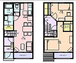 [テラスハウス] 神奈川県川崎市中原区下小田中6丁目 の賃貸【/】の間取り