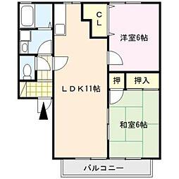 ファミ−ユシャト−B棟[2階]の間取り