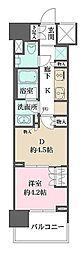 ザ・パークハウスアーバンス渋谷 9階1DKの間取り