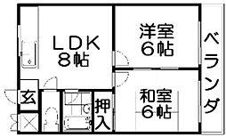 金森マンション(私部)[2階]の間取り