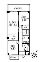 横浜市営地下鉄ブルーライン 上永谷駅 徒歩3分の賃貸マンション 2階2LDKの間取り