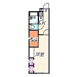 レオパレスマウントテンプル 2階1Kの間取り