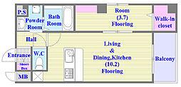 ベリーウェルIII 3階1LDKの間取り