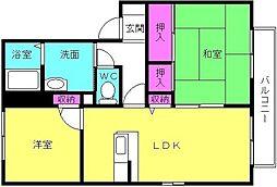 兵庫県加古郡稲美町中村の賃貸アパートの間取り