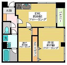 東京都世田谷区代沢3丁目の賃貸マンションの間取り