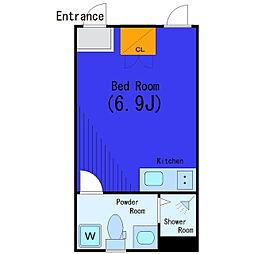 東急目黒線 不動前駅 徒歩7分の賃貸アパート 2階ワンルームの間取り