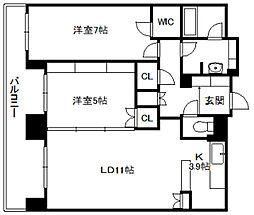 北海道札幌市中央区南二条東6丁目の賃貸マンションの間取り