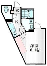 Sky Rainbow KAMITAKADA 3階1Kの間取り