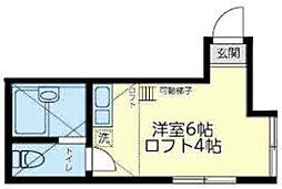 ユナイト横浜シーバーズストリート 1階ワンルームの間取り