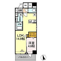 豊橋鉄道東田本線 札木駅 徒歩7分の賃貸マンション 9階1LDKの間取り