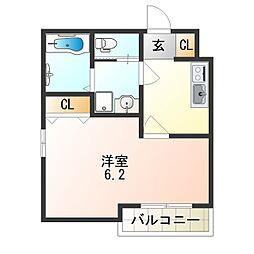 南海線 天下茶屋駅 徒歩10分の賃貸アパート 2階1Kの間取り