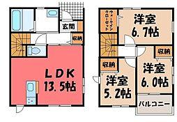 [一戸建] 栃木県宇都宮市峰1丁目 の賃貸【/】の間取り