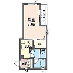 仮)牛久市ひたち野西シャーメゾン 3階1Kの間取り