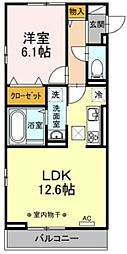 Lupinus A棟 2階1LDKの間取り