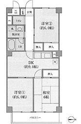 ケーディーエックス武蔵中原レジデンス[4階]の間取り