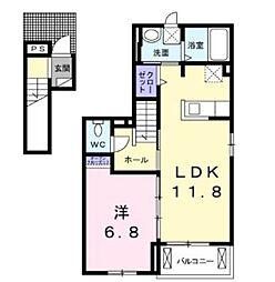 東武伊勢崎線 竹ノ塚駅 徒歩24分の賃貸アパート 2階1LDKの間取り