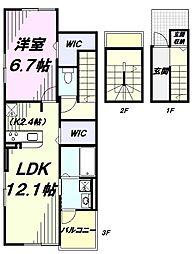 多摩都市モノレール 砂川七番駅 徒歩10分の賃貸アパート 3階1LDKの間取り