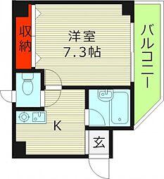 メゾンフィオーレ 1階1Kの間取り