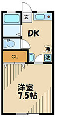 ドーム多摩 J棟 2階1Kの間取り