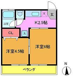 千葉県船橋市西船2丁目の賃貸アパートの間取り