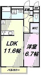 多摩都市モノレール 上北台駅 徒歩15分の賃貸アパート 2階1LDKの間取り