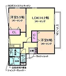 大阪府豊中市桜の町3丁目の賃貸マンションの間取り