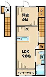 ハピネスA 2階1LDKの間取り