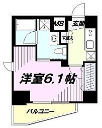 JR中央線 立川駅 徒歩10分の賃貸マンション 3階1Kの間取り