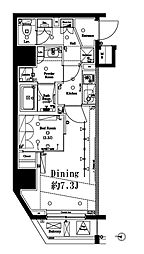 アクサス渋谷初台 3階1DKの間取り