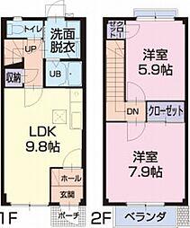 愛知県岡崎市北野町の賃貸アパートの間取り