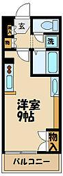 レオネクスト日野万願寺 3階ワンルームの間取り